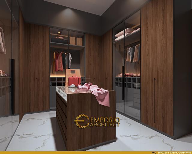 Desain Walk In Closet Rumah Modern 3 Lantai Bapak Gunawan di Jakarta Barat