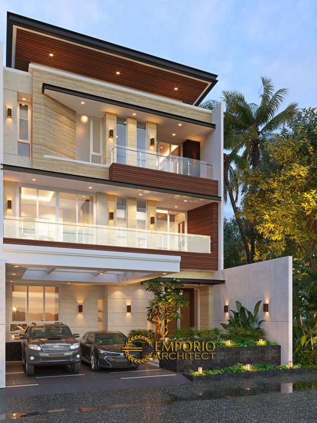Desain Rumah Modern 3 Lantai Bapak Gunawan di Jakarta Barat - Tampak Depan Tanpa Pagar