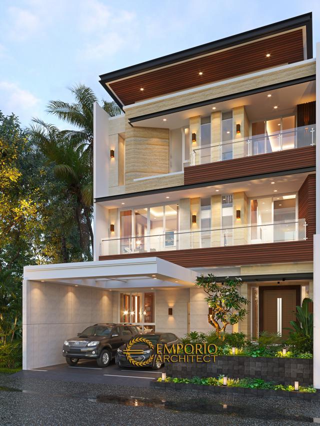Desain Tampak Depan Tanpa Pagar 2 Rumah Modern 3 Lantai Bapak Gunawan di Jakarta Barat