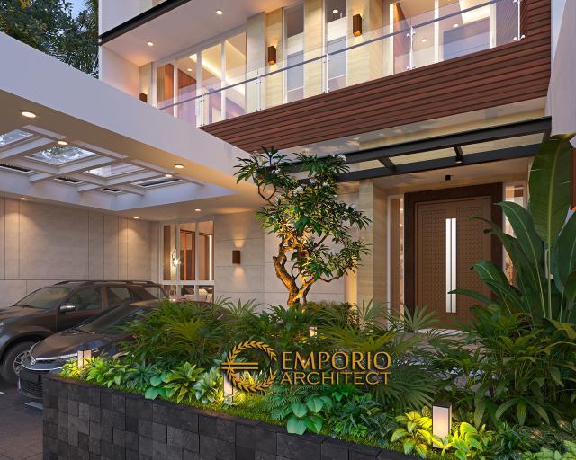 Desain Tampak Detail Depan Rumah Modern 3 Lantai Bapak Gunawan di Jakarta Barat
