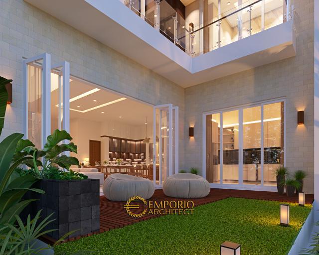 Desain Tampak Detail Belakang Rumah Modern 3 Lantai Bapak Gunawan di Jakarta Barat