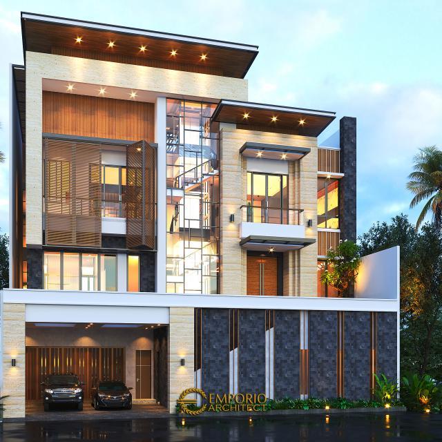 Desain Rumah Modern 3.5 Lantai Ibu Cannida di  Jakarta Barat