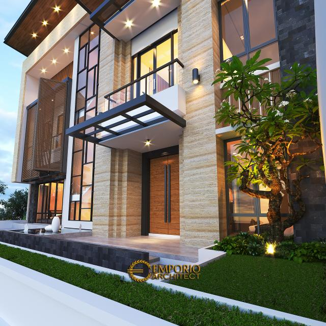 Desain Tampak Detail Depan 2 Rumah Modern 3.5 Lantai Ibu Cannida di Jakarta Barat