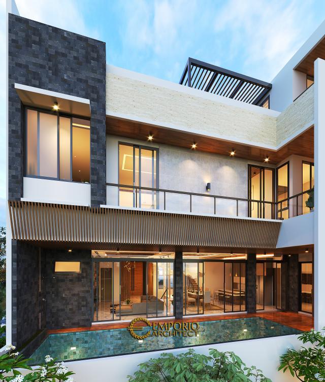 Desain Tampak Belakang Rumah Modern 3.5 Lantai Ibu Cannida di Jakarta Barat