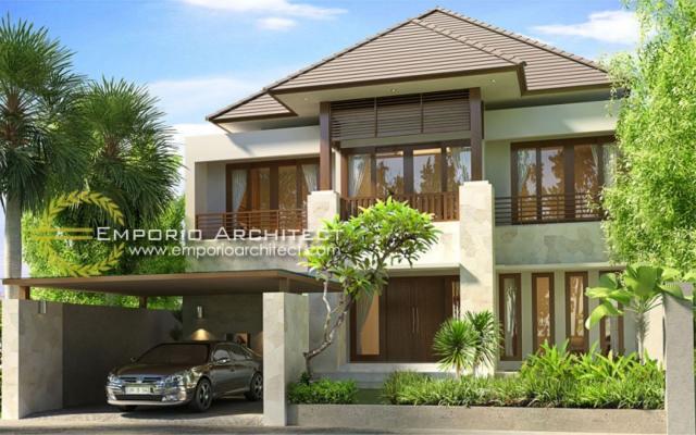 Desain Exterior 1 Rumah Villa Bali 2 Lantai Dr. Krisna di Denpasar, Bali