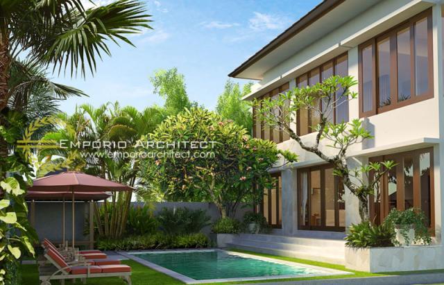 Desain Exterior 2 Rumah Villa Bali 2 Lantai Dr. Krisna di Denpasar, Bali