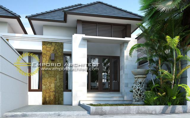 Desain Exterior 2 Rumah Villa Bali 1 Lantai Bapak Putra Depok di Depok