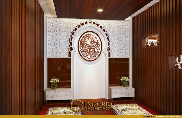 Desain Musholla Rumah Villa Bali 1 Lantai Bapak Asep di Serang, Banten