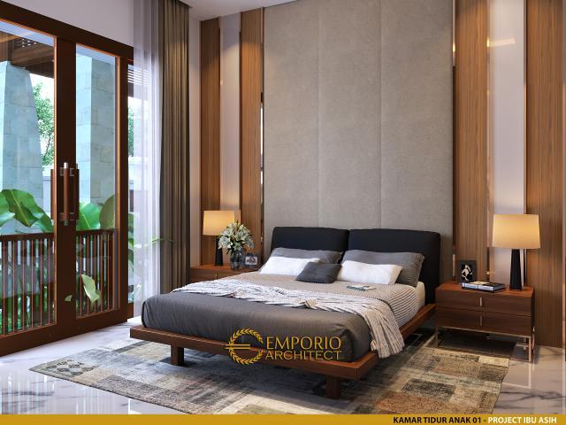 Desain Kamar Tidur Anak 1 Rumah Villa Bali 1 Lantai Ibu Asih di Pangkalan Bun, Kalimantan Tengah