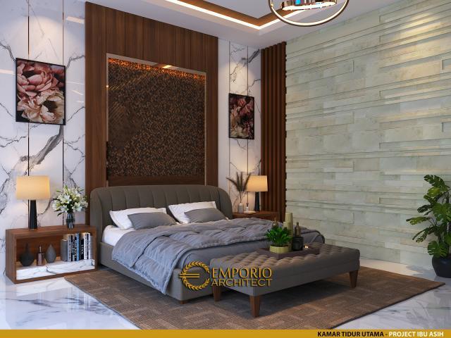 Desain Kamar Tidur Utama Rumah Villa Bali 1 Lantai Ibu Asih di Pangkalan Bun, Kalimantan Tengah