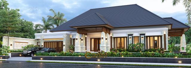 Desain Rumah Villa Bali 1 Lantai Ibu Asih di Pangkalan Bun, Kalimantan Tengah - Tampak Depan