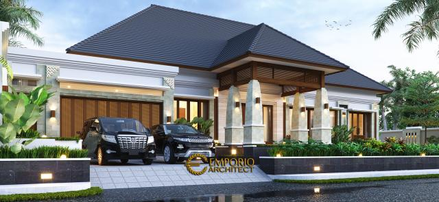Desain Tampak Depan 2 Rumah Villa Bali 1 Lantai Ibu Asih di Pangkalan Bun, Kalimantan Tengah