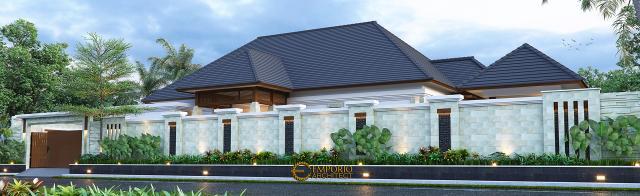 Desain Tampak Depan Dengan Pagar Rumah Villa Bali 1 Lantai Ibu Asih di Pangkalan Bun, Kalimantan Tengah