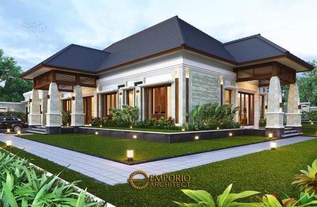 Desain Tampak Detail Depan Rumah Villa Bali 1 Lantai Ibu Asih di Pangkalan Bun, Kalimantan Tengah