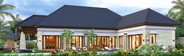 Desain Tampak Belakang Rumah Villa Bali 1 Lantai Ibu Asih di Pangkalan Bun, Kalimantan Tengah