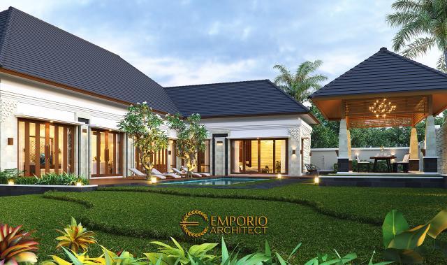 Desain Tampak Detail Belakang Rumah Villa Bali 1 Lantai Ibu Asih di Pangkalan Bun, Kalimantan Tengah