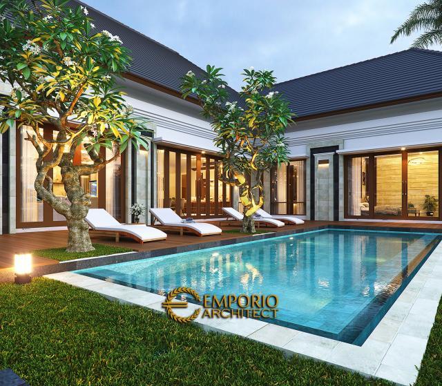 Desain Tampak Detail Kolam Rumah Villa Bali 1 Lantai Ibu Asih di Pangkalan Bun, Kalimantan Tengah
