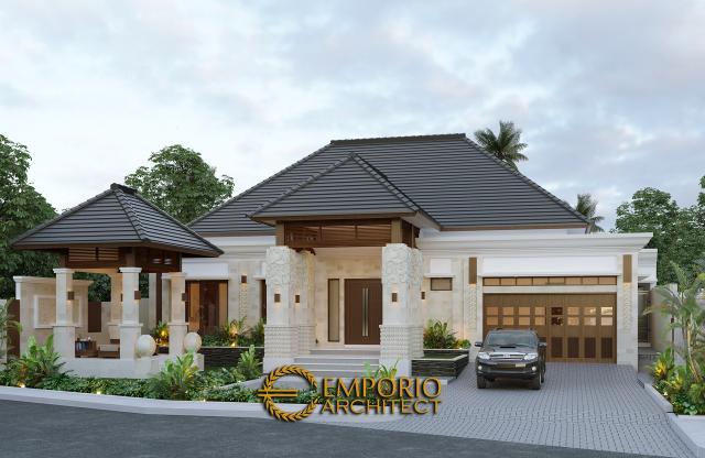 Desain Tampak Depan Tanpa Pagar Rumah Villa Bali 1 Lantai Bapak Ayat di Serang, Banten