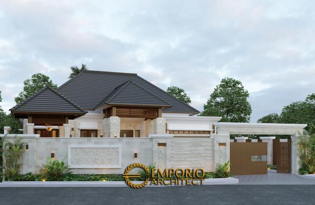 Desain Tampak Depan Dengan Pagar Rumah Villa Bali 1 Lantai Bapak Ayat di Serang, Banten