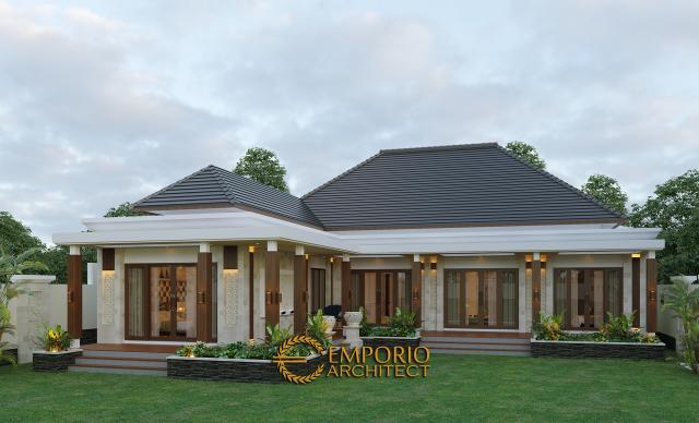 Desain Tampak Belakang Rumah Villa Bali 1 Lantai Bapak Ayat di Serang, Banten