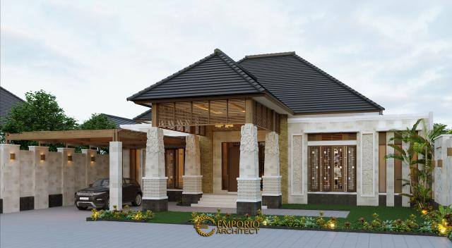 Desain Tampak Depan Tanpa Pagar Rumah Villa Bali 1 Lantai Bapak Jon di Pekanbaru, Riau