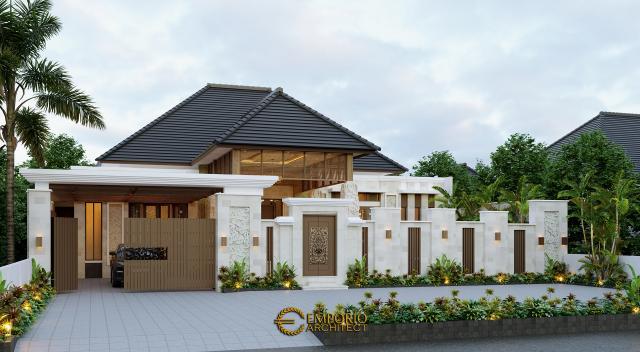 Desain Tampak Depan Dengan Pagar Rumah Villa Bali 1 Lantai Bapak Jon di Pekanbaru, Riau