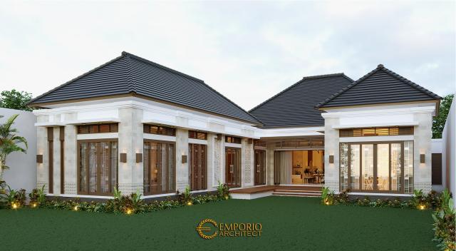 Desain Tampak Belakang Rumah Villa Bali 1 Lantai Bapak Jon di Pekanbaru, Riau
