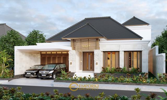 Desain Tampak Depan Tanpa Pagar Rumah Villa Bali 1.5 Lantai Bapak Baihaqi di Aceh