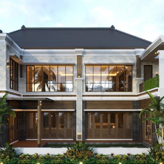 Desain Tampak Belakang 2 Rumah Villa Bali 2 Lantai Bapak Era Johny di Surakarta, Jawa Tengah