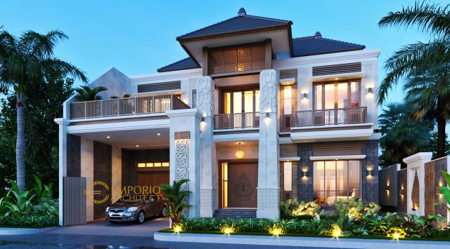 Desain Rumah Villa Bali 2 Lantai Bapak Era Johny di Surakarta, Jawa Tengah - Tampak Depan Tanpa Pagar 1