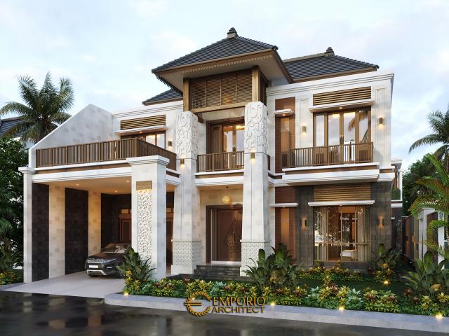 Desain Tampak Depan Tanpa Pagar 2 Rumah Villa Bali 2 Lantai Bapak Era Johny di Surakarta, Jawa Tengah