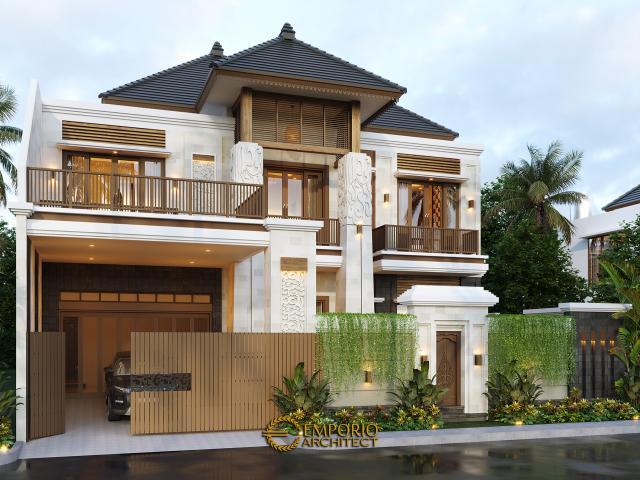 Desain Tampak Depan Dengan Pagar 1 Rumah Villa Bali 2 Lantai Bapak Era Johny di Surakarta, Jawa Tengah