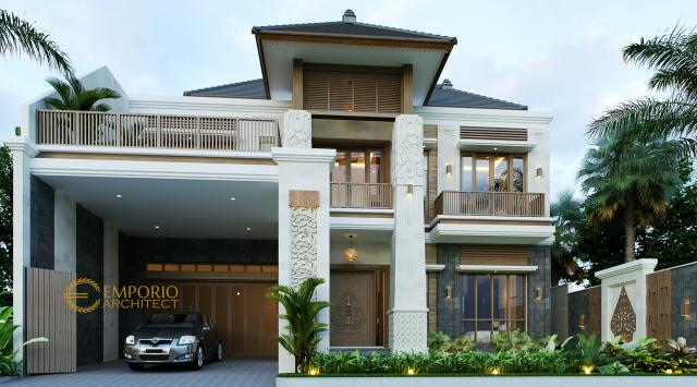 Desain Tampak Depan Dengan Pagar 2 Rumah Villa Bali 2 Lantai Bapak Era Johny di Surakarta, Jawa Tengah