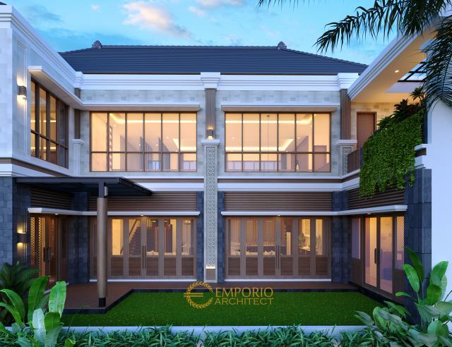 Desain Tampak Belakang 1 Rumah Villa Bali 2 Lantai Bapak Era Johny di Surakarta, Jawa Tengah