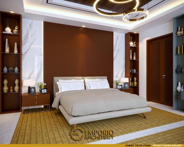 Desain Kamar Tidur Utama Rumah Villa Bali 2 Lantai Bapak Sanjaya di Denpasar, Bali