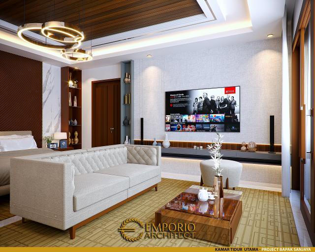 Desain Ruang Nonton Kamar Tidur Utama Rumah Villa Bali 2 Lantai Bapak Sanjaya di Denpasar, Bali
