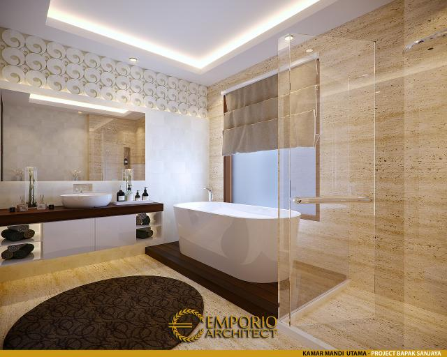 Desain Kamar Mandi Utama Rumah Villa Bali 2 Lantai Bapak Sanjaya di Denpasar, Bali