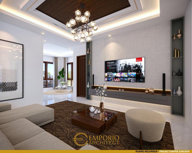 Desain Ruang Keluarga Rumah Villa Bali 2 Lantai Bapak Sanjaya di Denpasar, Bali