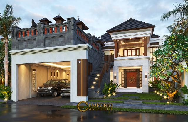 Desain Rumah Villa Bali 2 Lantai Bapak Sanjaya di Denpasar, Bali - Tampak Depan Tanpa Pagar