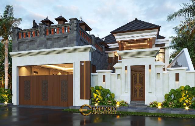 Desain Tampak Depan Dengan Pagar Rumah Villa Bali 2 Lantai Bapak Sanjaya di Denpasar, Bali
