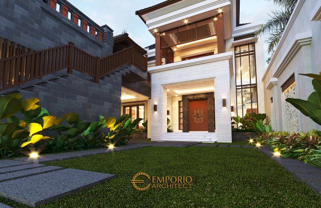 Desain Tampak Detail Depan Rumah Villa Bali 2 Lantai Bapak Sanjaya di Denpasar, Bali