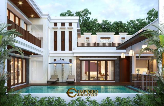 Desain Tampak Belakang Rumah Villa Bali 2 Lantai Bapak Sanjaya di Denpasar, Bali