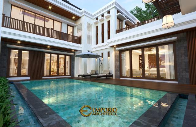 Desain Tampak Detail Belakang 1 Rumah Villa Bali 2 Lantai Bapak Sanjaya di Denpasar, Bali