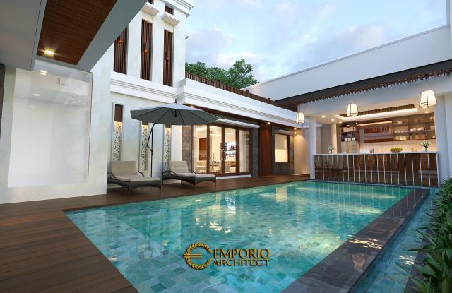 Desain Tampak Detail Belakang 2 Rumah Villa Bali 2 Lantai Bapak Sanjaya di Denpasar, Bali