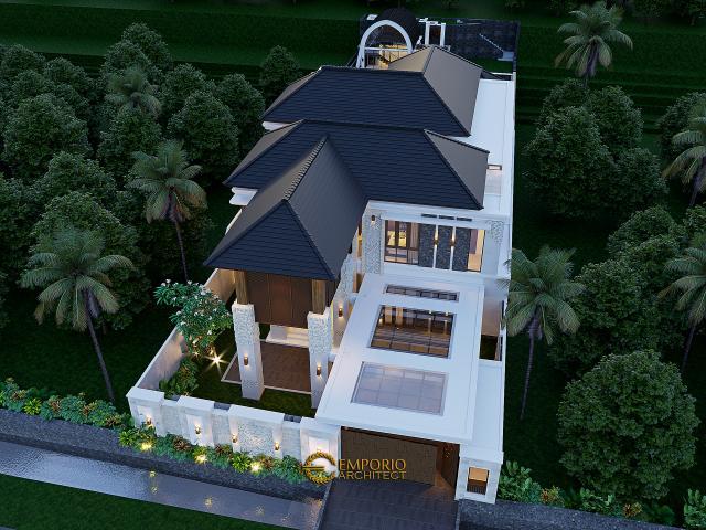 Desain Master Plan Tampak Depan Rumah Villa Bali 2 Lantai Bapak Reno di Bandung, Jawa Barat