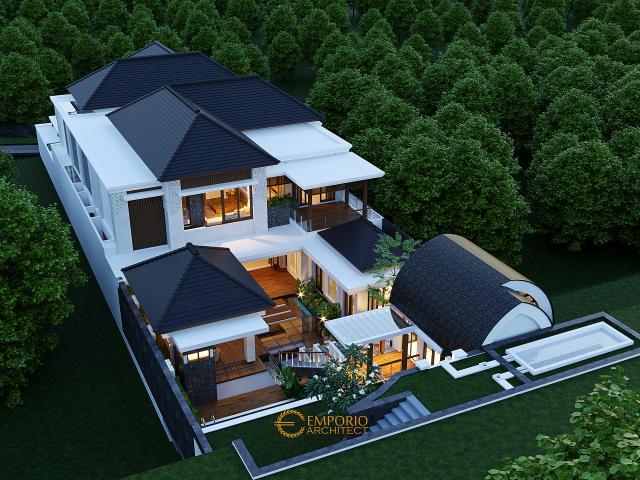 Desain Master Plan Tampak Belakang Rumah Villa Bali 2 Lantai Bapak Reno di Bandung, Jawa Barat