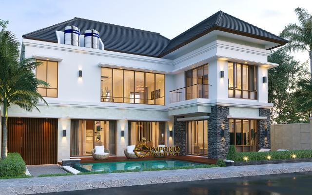 Desain Tampak Belakang Rumah Villa Bali Modern 2 Lantai Ibu Yuyun di Nusa Tenggara Timur