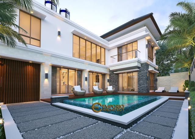 Desain Tampak Detail Belakang 1 Rumah Villa Bali Modern 2 Lantai Ibu Yuyun di Nusa Tenggara Timur