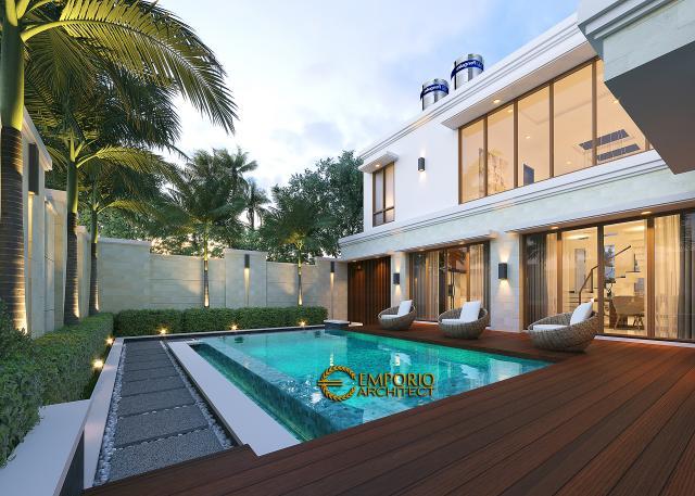 Desain Tampak Detail Belakang 2 Rumah Villa Bali Modern 2 Lantai Ibu Yuyun di Nusa Tenggara Timur