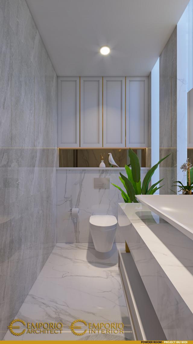 Desain Powder Room Rumah Villa Bali 2 Lantai Ibu Widi di Bandung, Jawa Barat